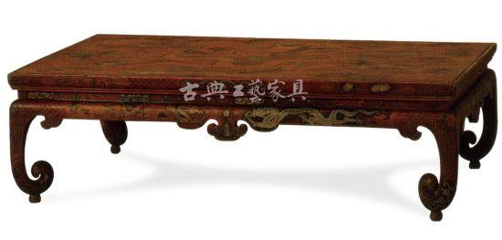 黃漆地彩繪戧金云龍紋炕桌