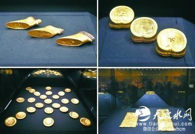 原文配圖:展出的麟趾金和馬蹄金。