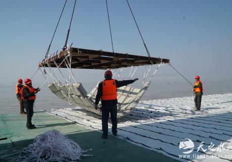 南汇东滩促淤二期工程Ⅱ标顺利完成全部铺排施工任务