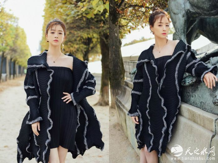 4.蒋欣黑色纹理裙最好看