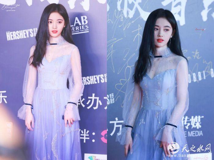 2.鞠婧祎水蓝色纱裙亮相极乐夜红毯飘逸感十足